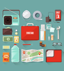 An illustration of items you can include in your emergency kit